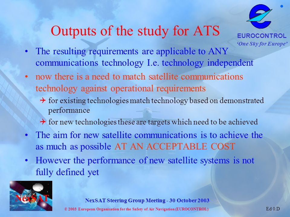 Outputs of the study for ATS