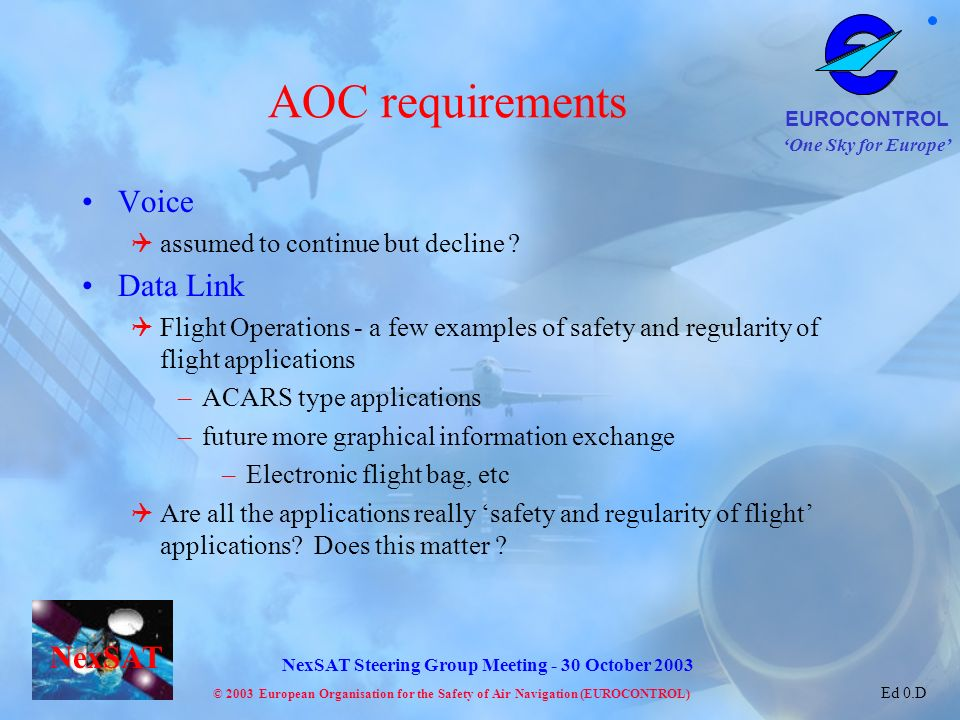 AOC requirements Voice Data Link assumed to continue but decline