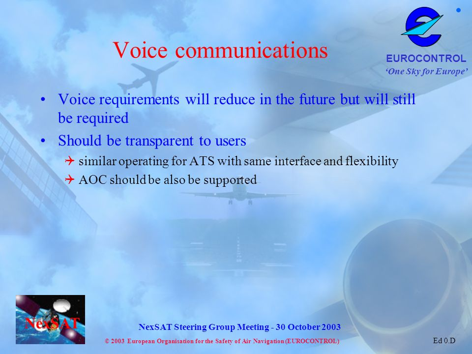 Voice communications Voice requirements will reduce in the future but will still be required. Should be transparent to users.
