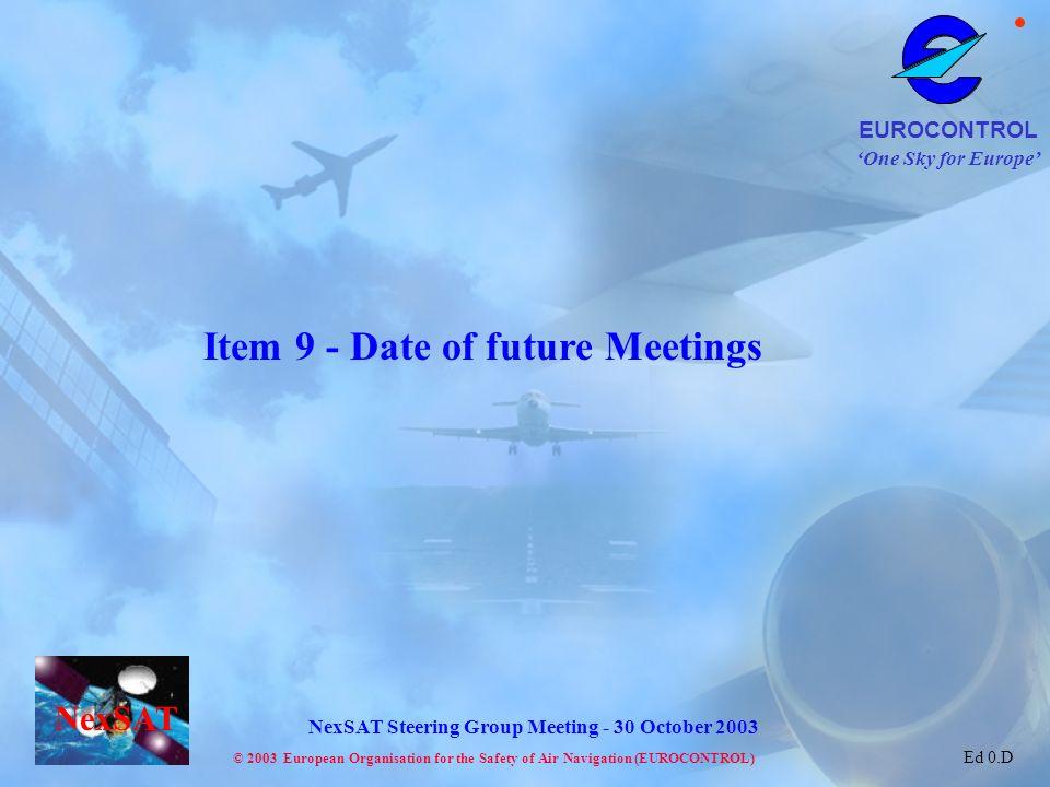 Item 9 - Date of future Meetings