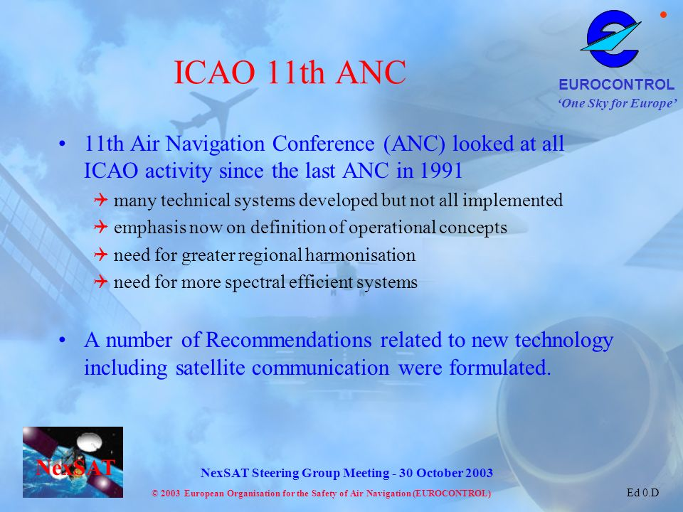 ICAO 11th ANC 11th Air Navigation Conference (ANC) looked at all ICAO activity since the last ANC in 1991.