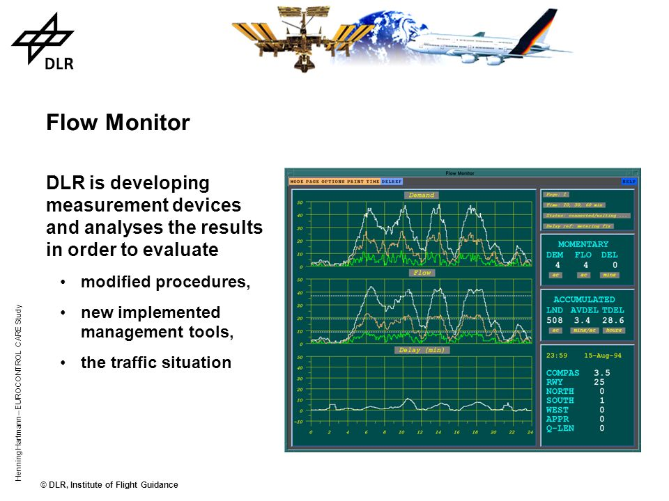 Flow Monitor DLR is developing measurement devices and analyses the results in order to evaluate. modified procedures,