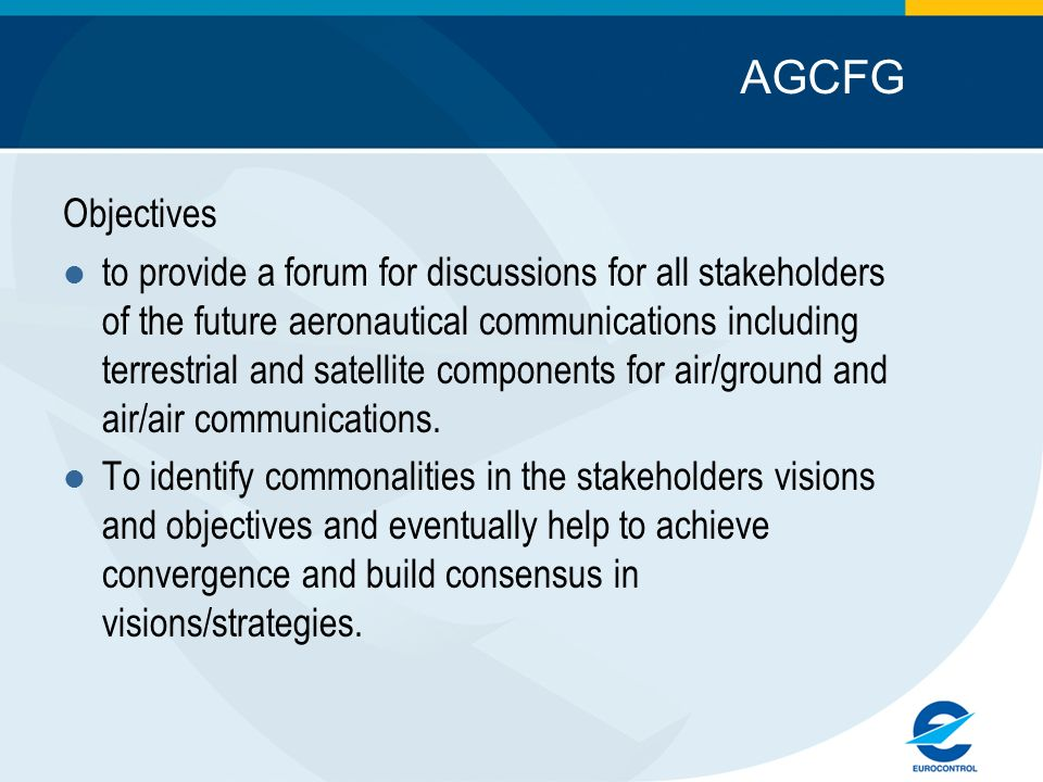 AGCFG Objectives.