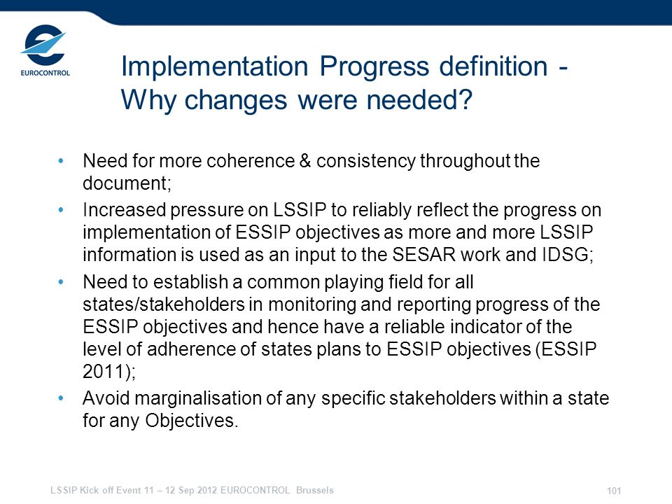 Implementation Progress definition - Why changes were needed