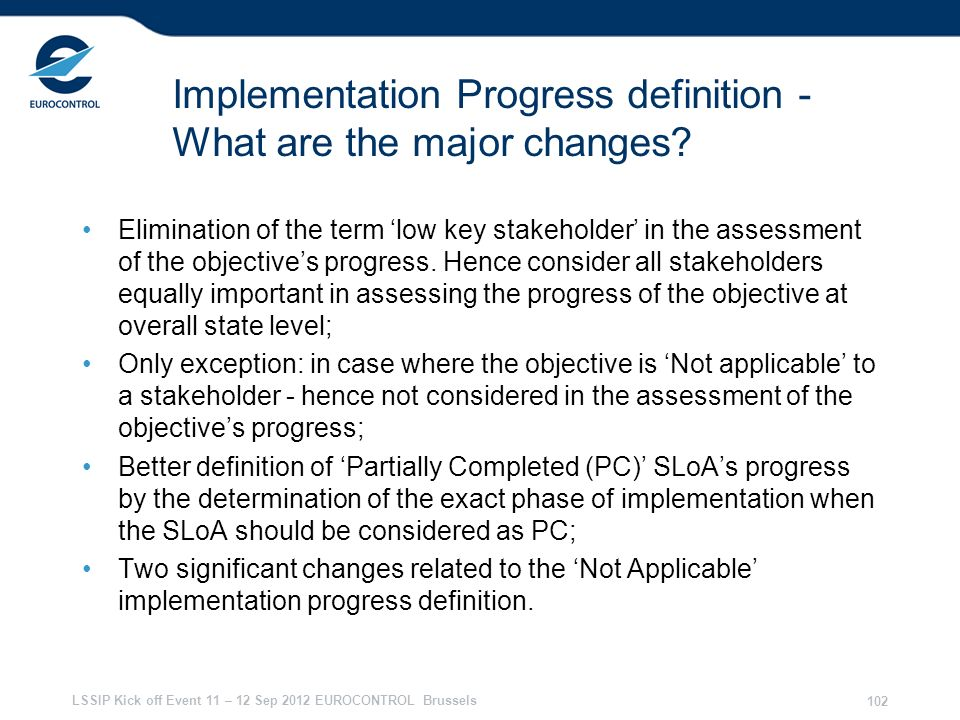 Implementation Progress definition - What are the major changes