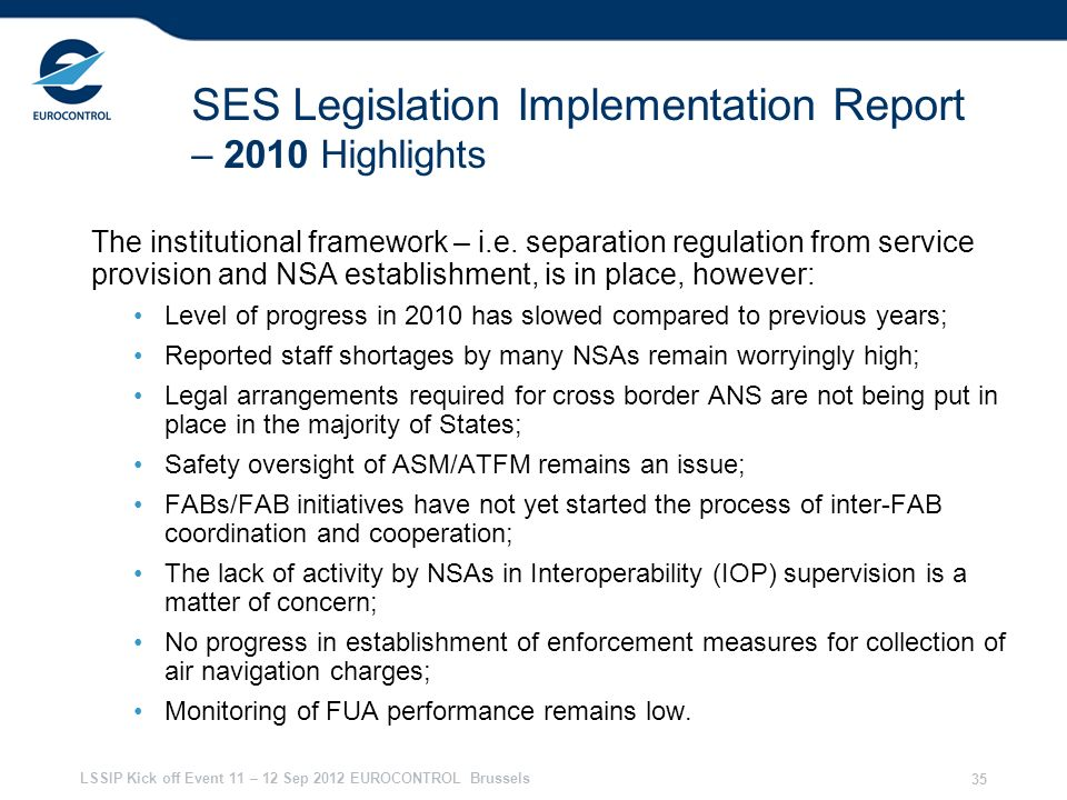 SES Legislation Implementation Report – 2010 Highlights