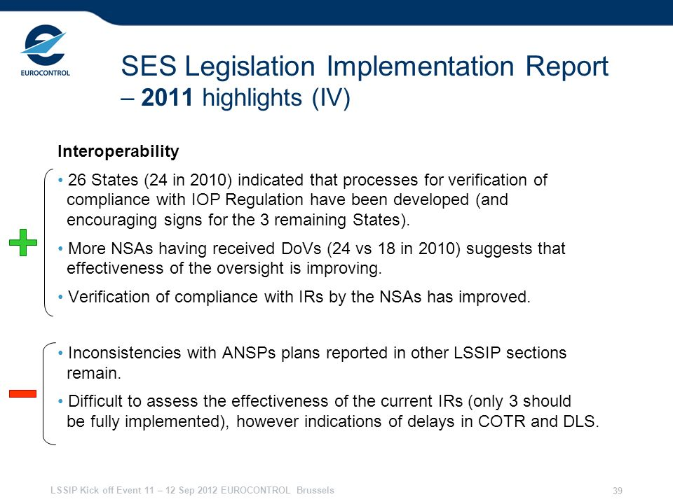 SES Legislation Implementation Report – 2011 highlights (IV)