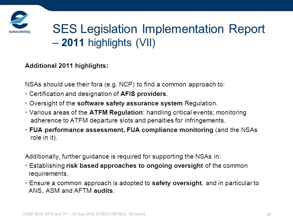 SES Legislation Implementation Report – 2011 highlights (VII)