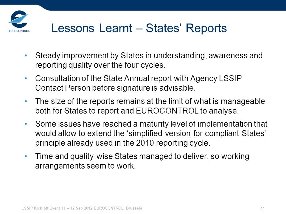 Lessons Learnt – States' Reports