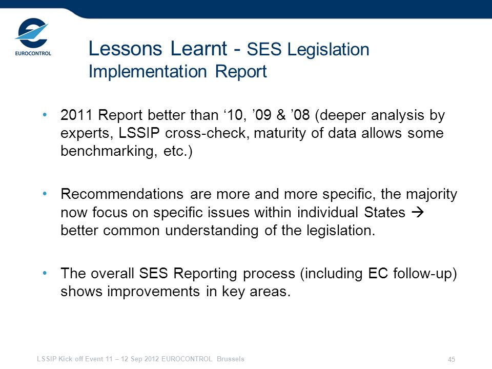 Lessons Learnt - SES Legislation Implementation Report