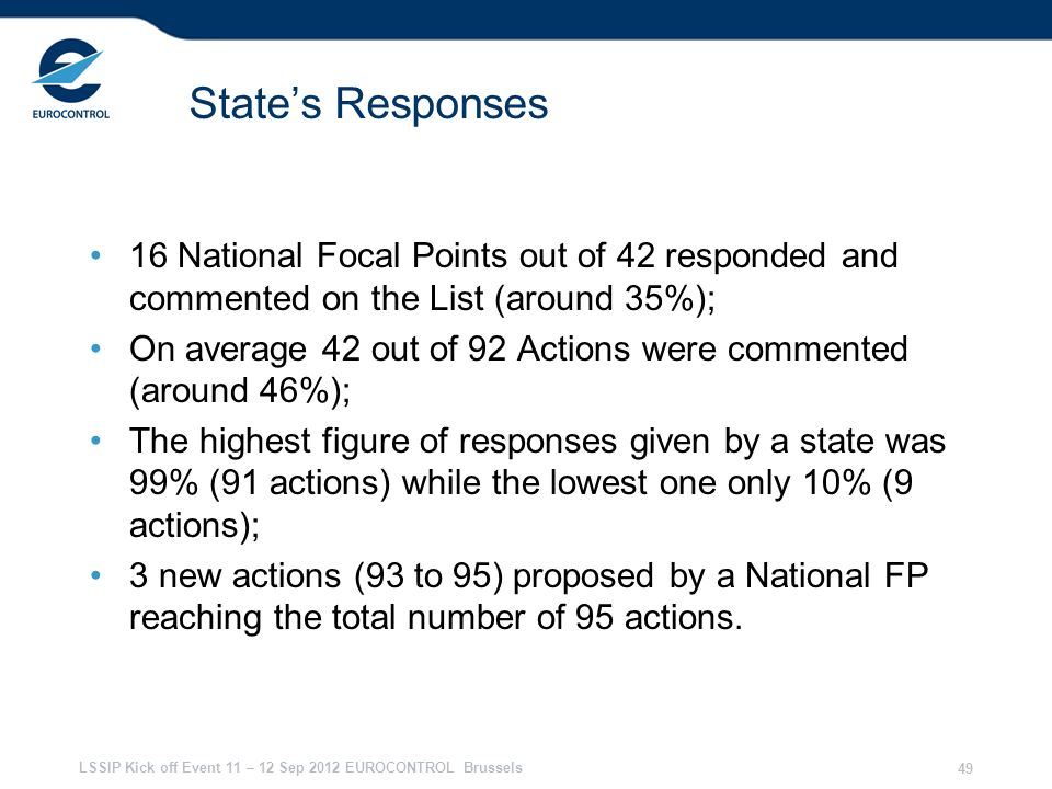 28/03/2017 State's Responses. 16 National Focal Points out of 42 responded and commented on the List (around 35%);