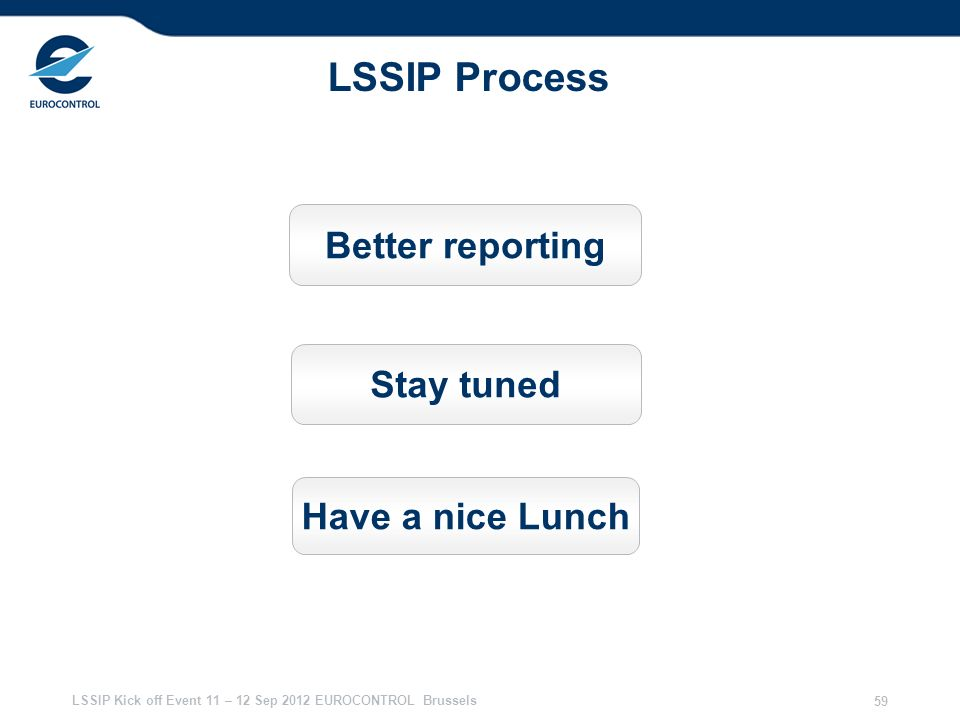 LSSIP Process Better reporting Stay tuned Have a nice Lunch 28/03/2017