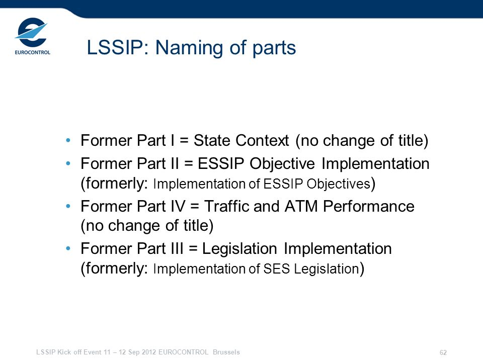 28/03/2017 LSSIP: Naming of parts. Former Part I = State Context (no change of title)