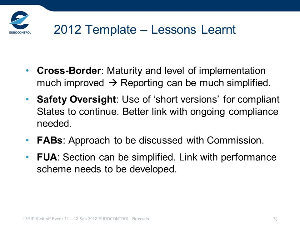 2012 Template – Lessons Learnt