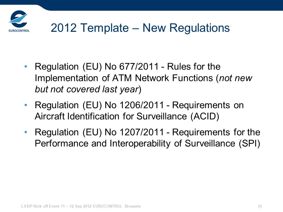 2012 Template – New Regulations