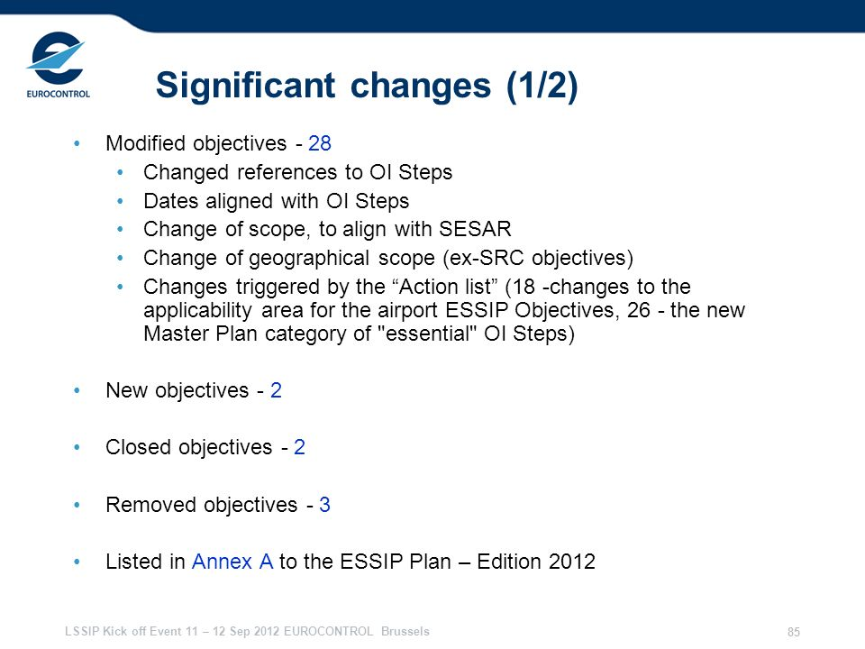 Significant changes (1/2)