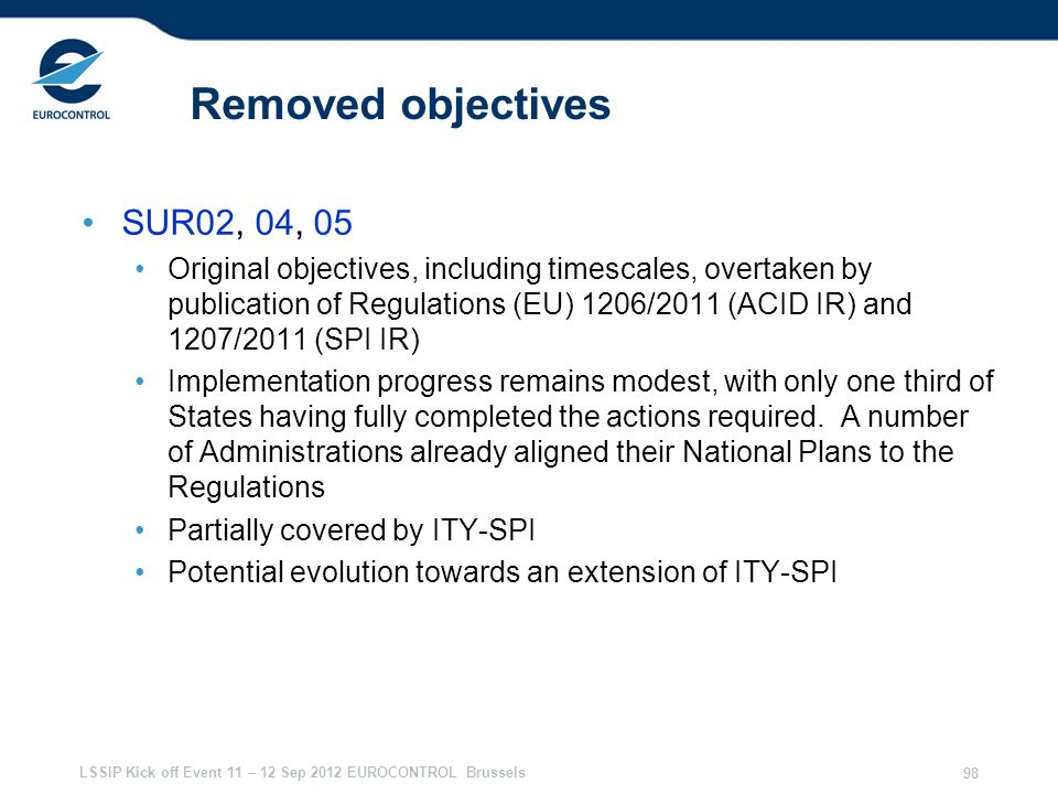 Removed objectives SUR02, 04, 05
