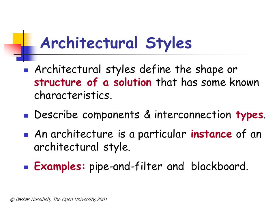 Architectural Styles Architectural styles define the shape or structure of a solution that has some known characteristics.