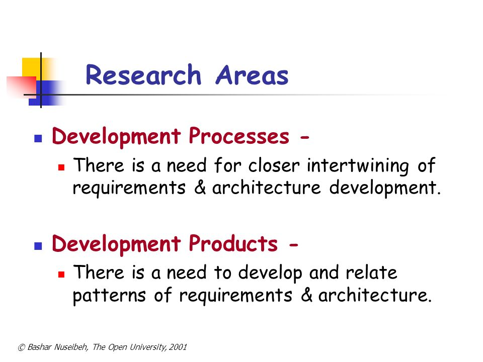 Research Areas Development Processes - Development Products -