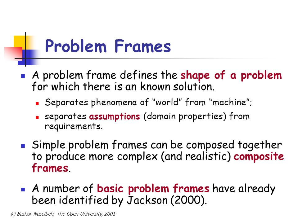 Problem Frames A problem frame defines the shape of a problem for which there is an known solution.