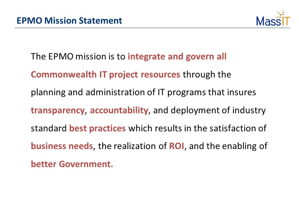 Epmo mission statement ppt download - Project management office mission statement ...