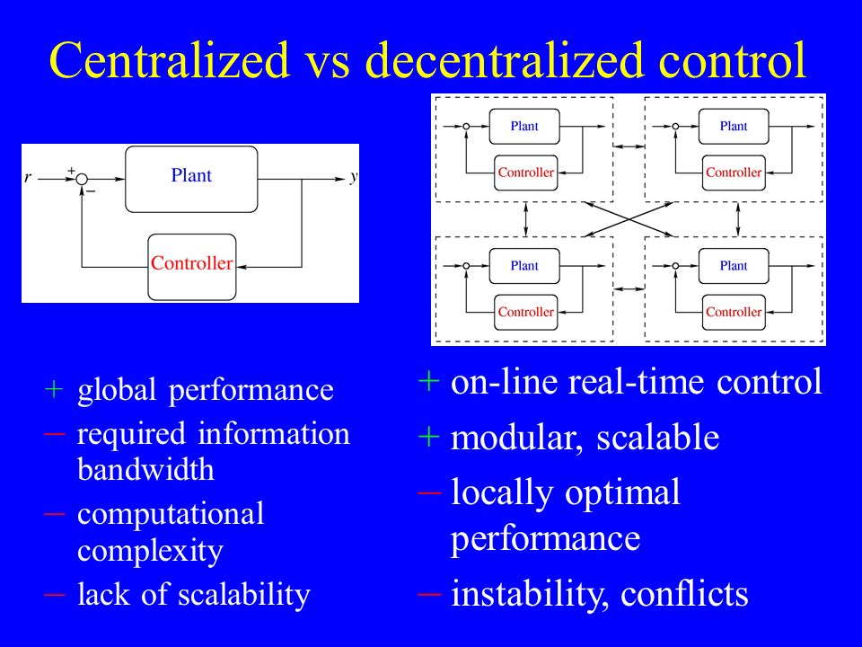 Centralized vs decentralized control