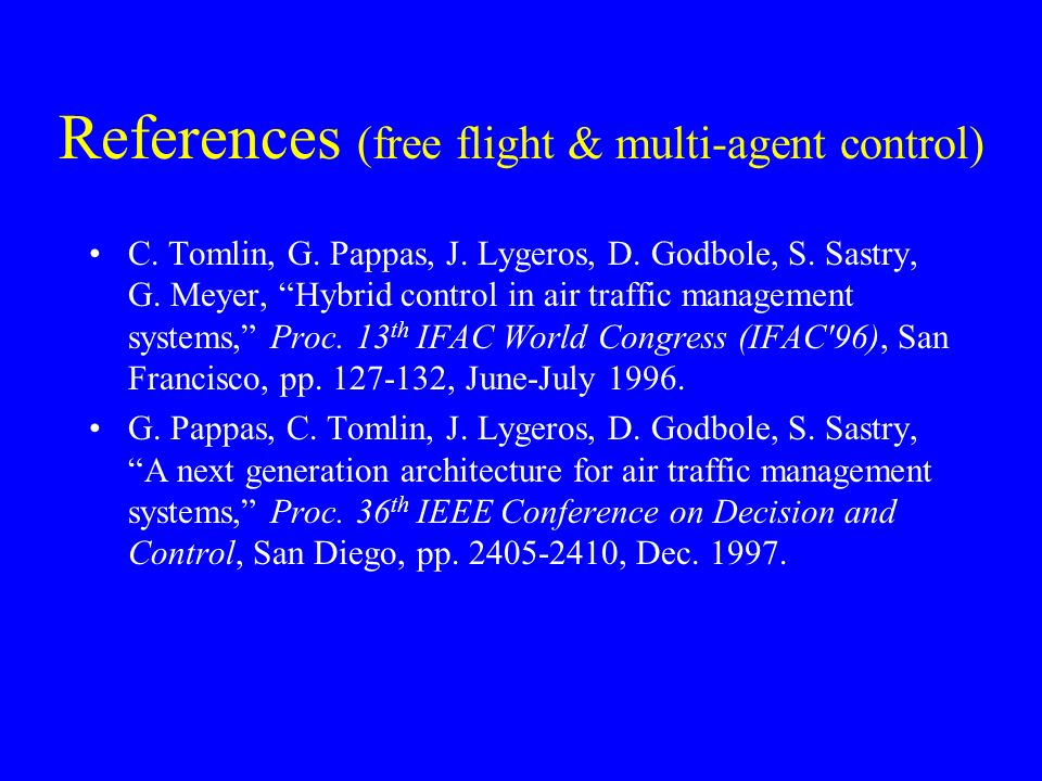 References (free flight & multi-agent control)