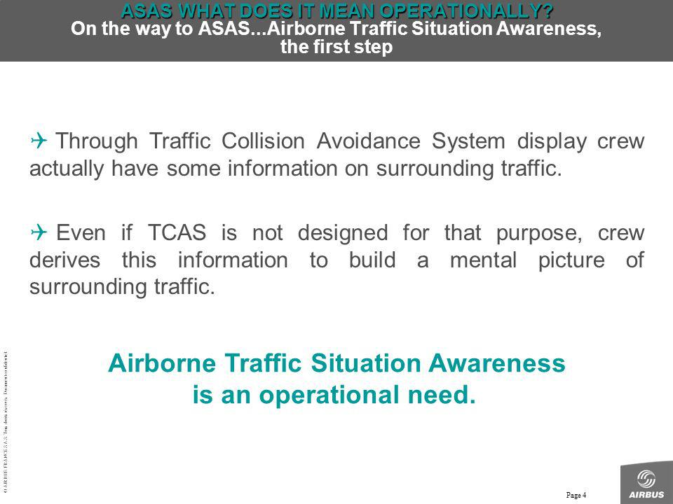 Airborne Traffic Situation Awareness is an operational need.