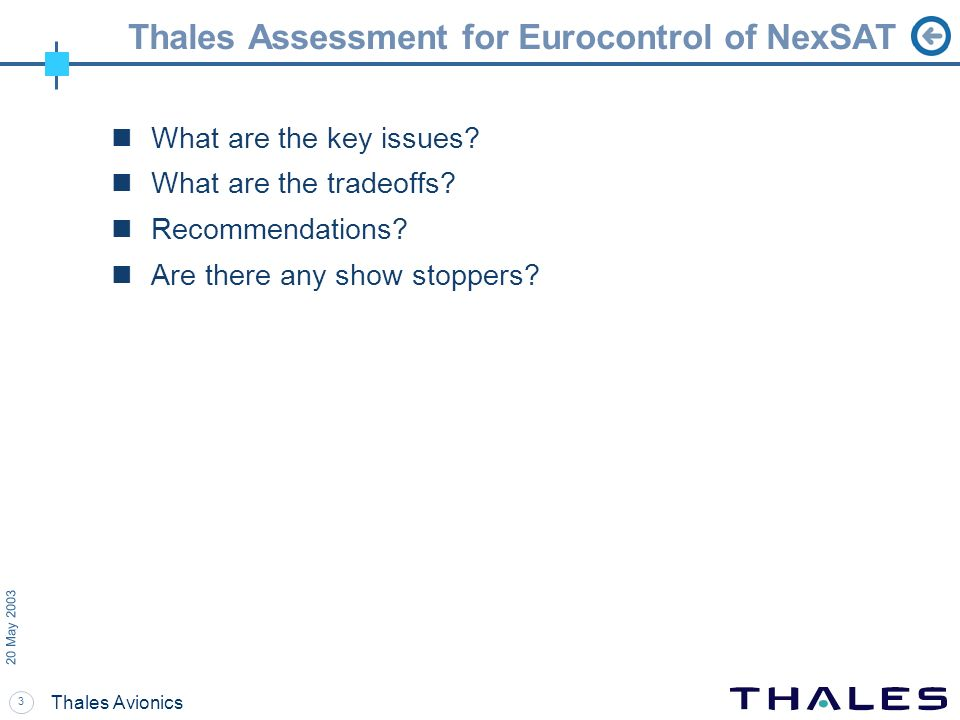 Thales Assessment for Eurocontrol of NexSAT