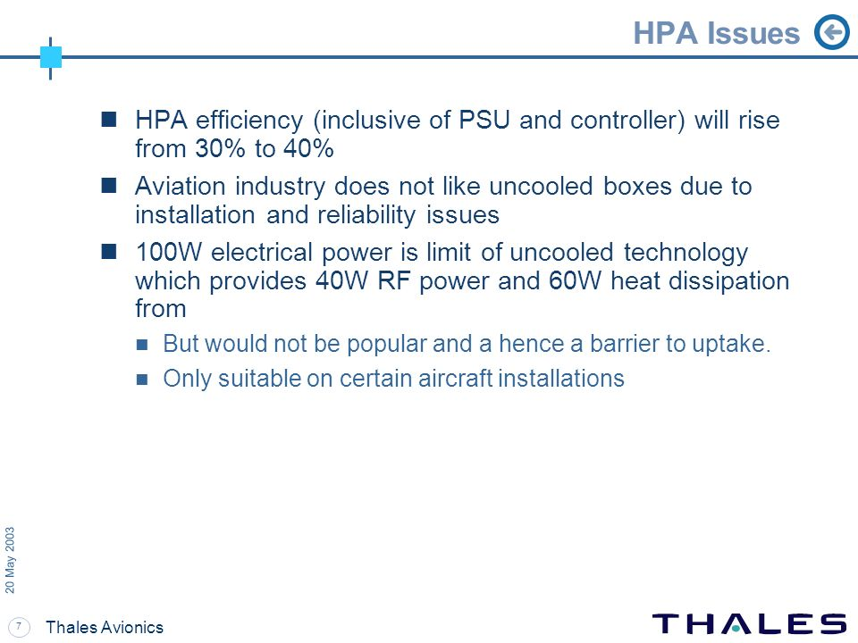 HPA Issues 20 May 2003. HPA efficiency (inclusive of PSU and controller) will rise from 30% to 40%