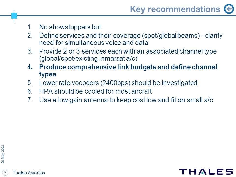 Key recommendations No showstoppers but: