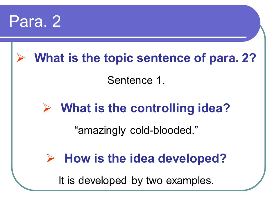 Para. 2 What is the topic sentence of para. 2