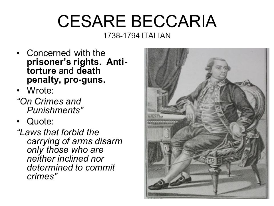 essay crimes punishments beccaria Famous for the marquis beccaria's arguments against torture and capital punishment — excerpted from dei delitti e delle pene on wikipedia, the free encyclopedia 392765an essay on crimes and punishmentscesare beccarianot mentioned1764.