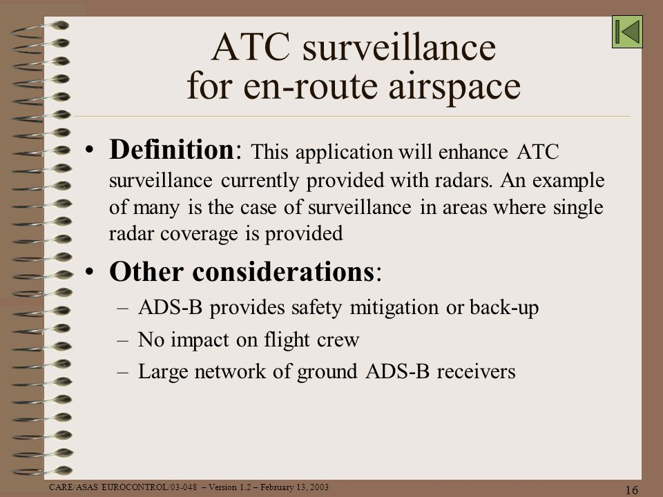 ATC surveillance for en-route airspace