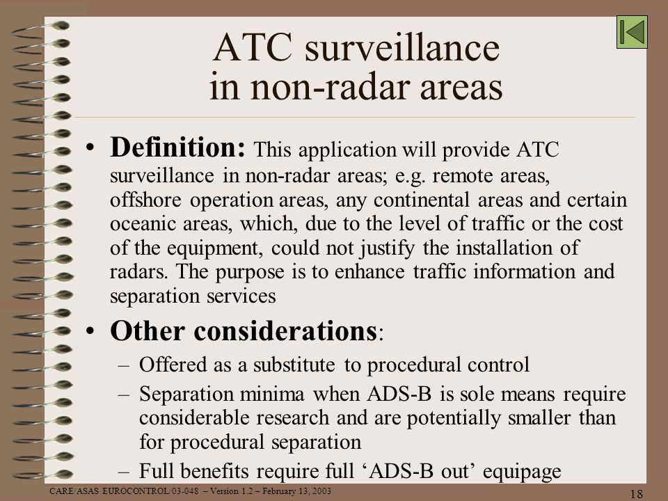 ATC surveillance in non-radar areas
