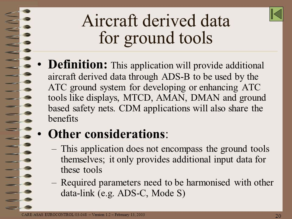 Aircraft derived data for ground tools