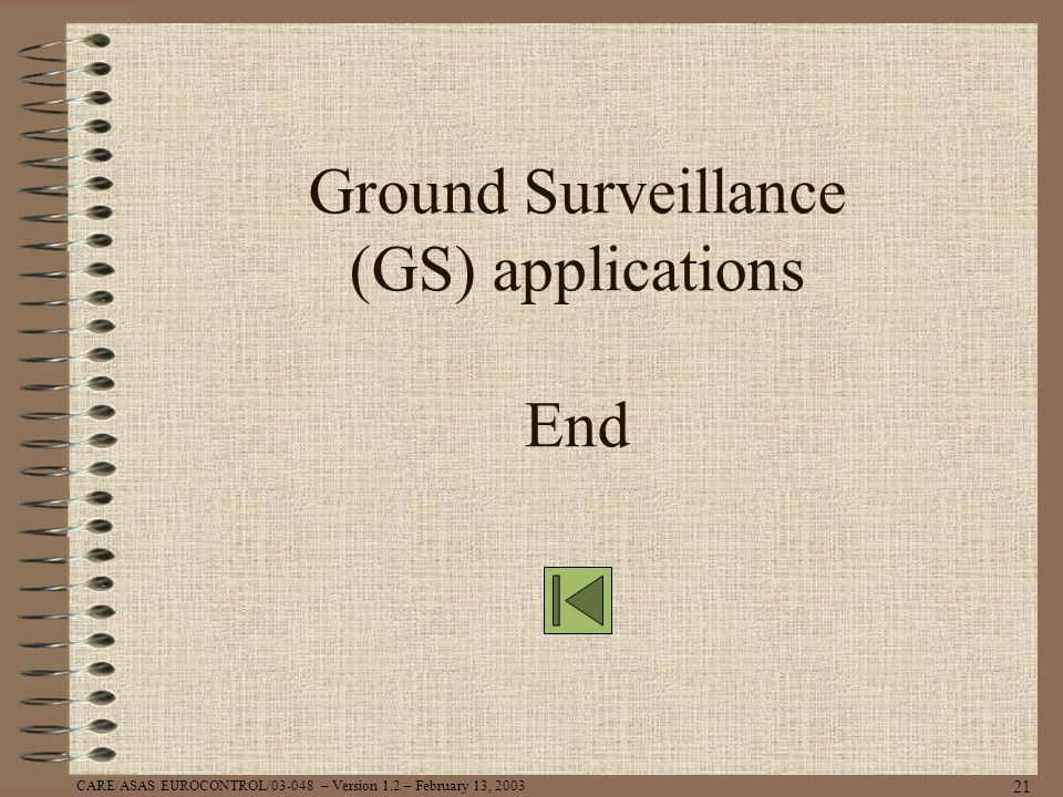 Ground Surveillance (GS) applications End