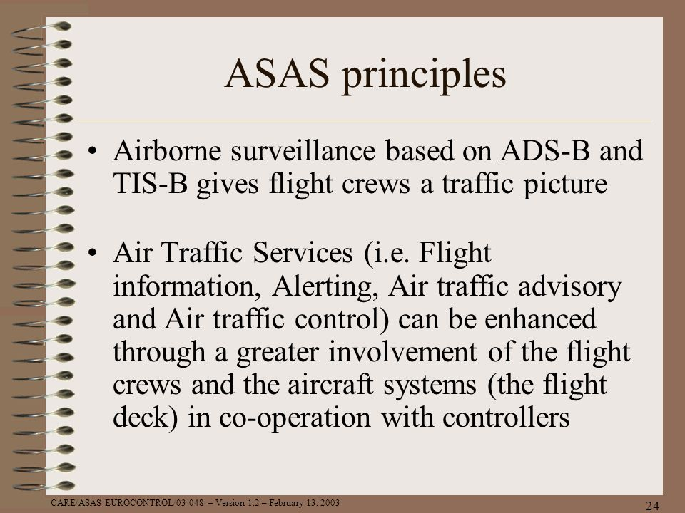 ASAS principles Airborne surveillance based on ADS-B and TIS-B gives flight crews a traffic picture.