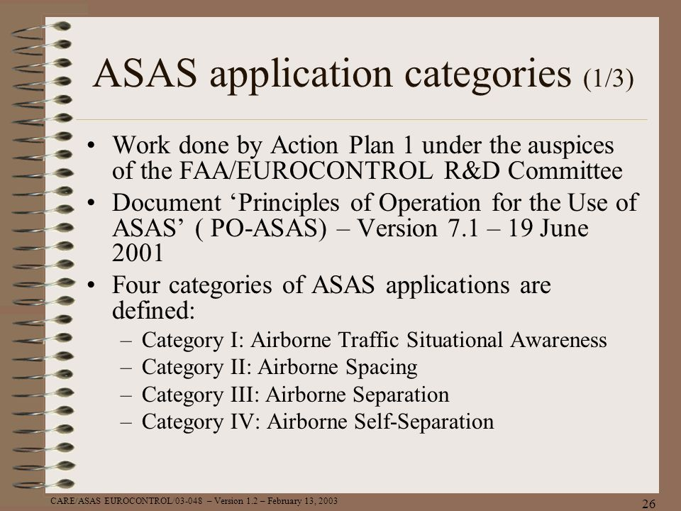 ASAS application categories (1/3)