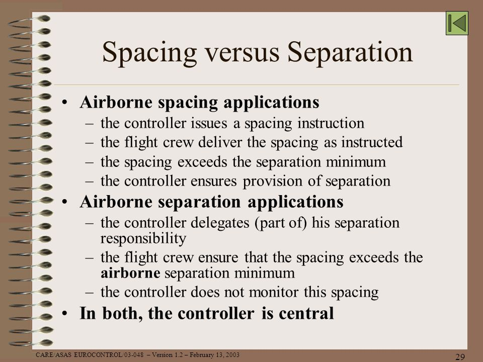 Spacing versus Separation