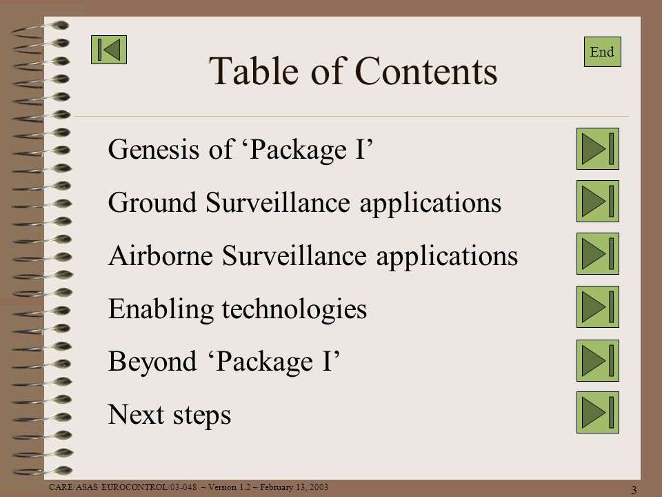 Table of Contents Genesis of 'Package I'