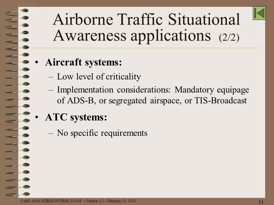 Airborne Traffic Situational Awareness applications (2/2)