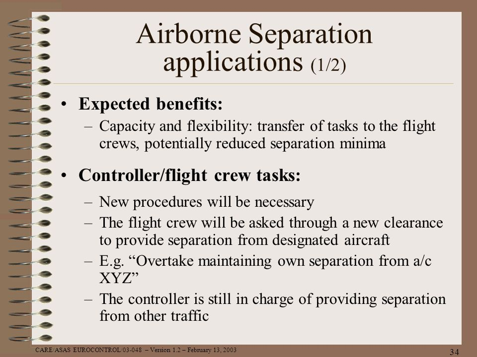 Airborne Separation applications (1/2)