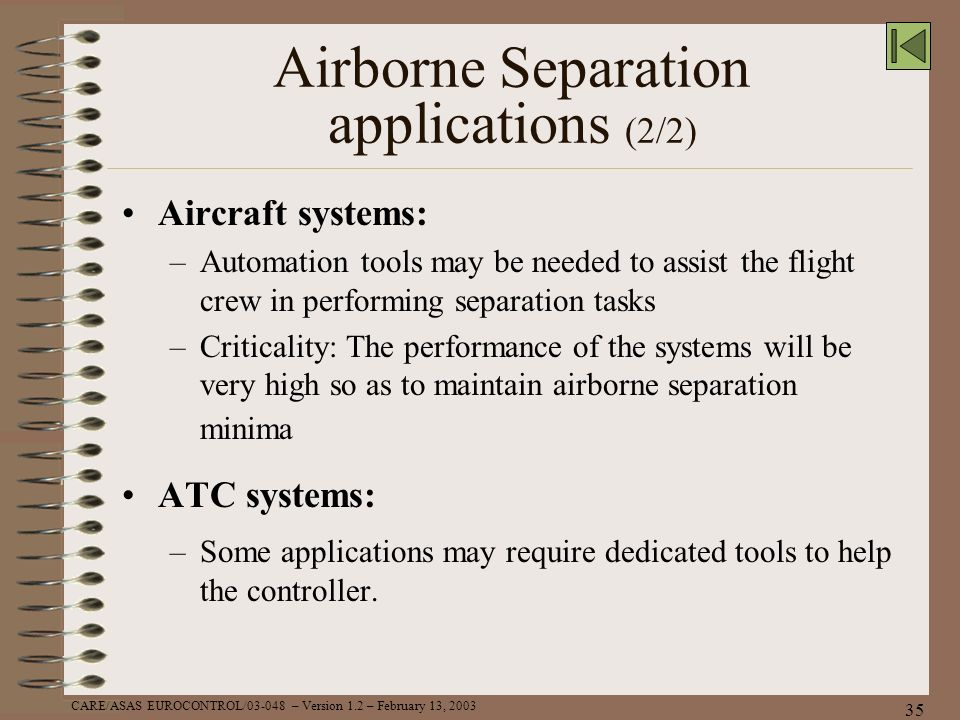 Airborne Separation applications (2/2)