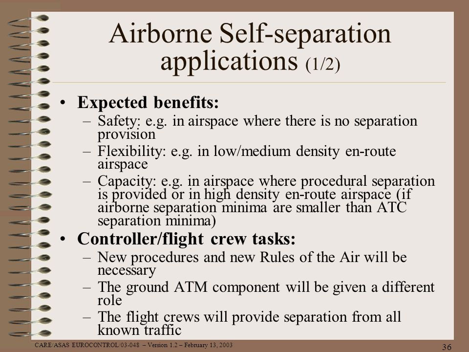 Airborne Self-separation applications (1/2)
