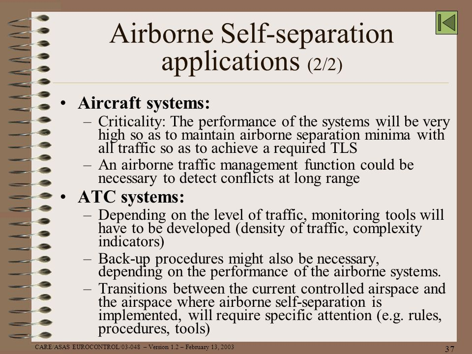 Airborne Self-separation applications (2/2)