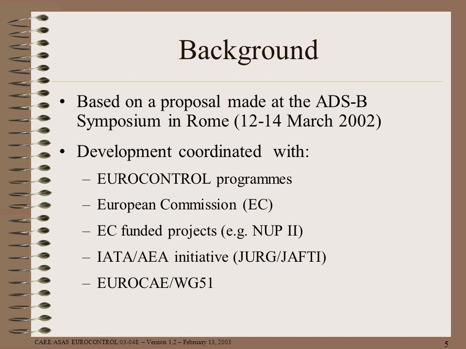 Background Based on a proposal made at the ADS-B Symposium in Rome (12-14 March 2002) Development coordinated with: