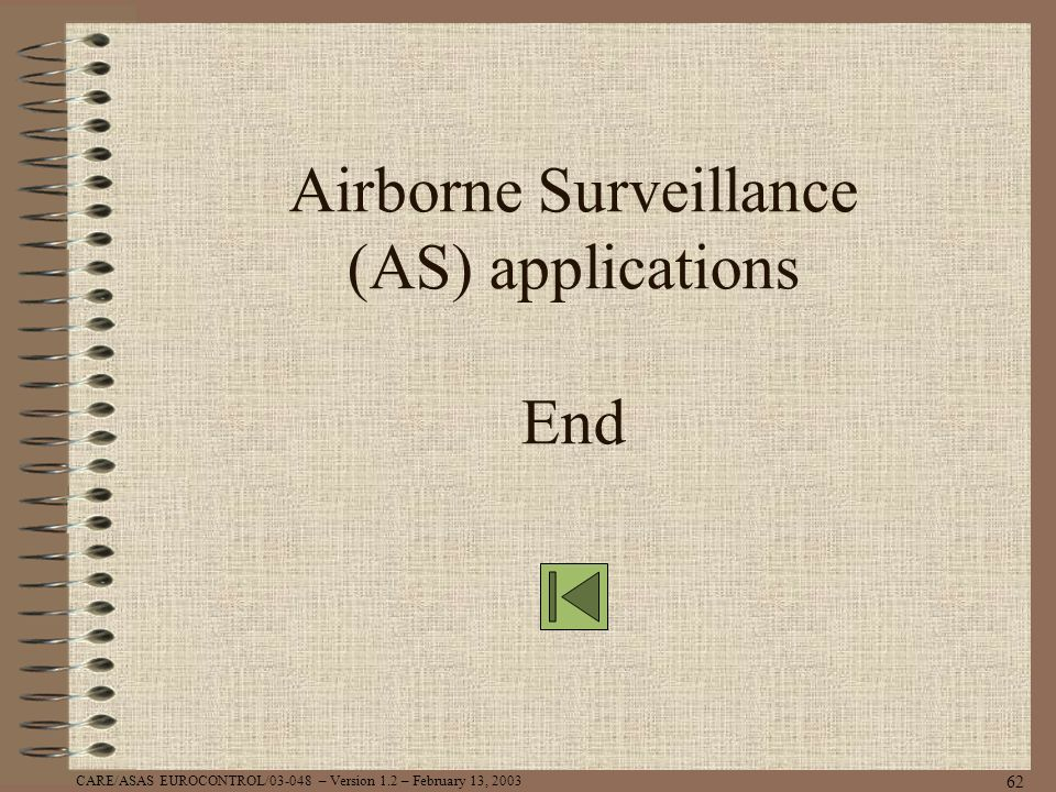 Airborne Surveillance (AS) applications End