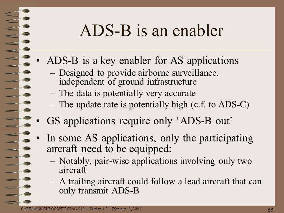 ADS-B is an enabler ADS-B is a key enabler for AS applications