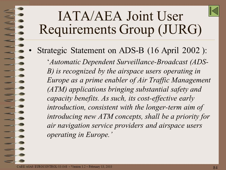 IATA/AEA Joint User Requirements Group (JURG)